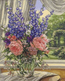 Dimensions Peonies and Delphiniums Cross Stitch Kit - 30cm x 38cm