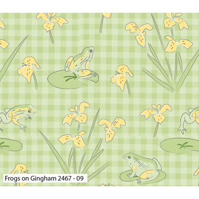 Visage Textiles Lily Pad Cut to Length - Frogs On Gingham