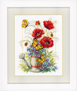 Vervaco Watering Can With Flowers Cross Stitch Kit - 19cm x 25cm