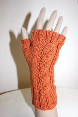 Cabled Fingerless Gloves - 0017