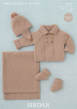 Baby Boy'S Coat, Helmet, Bootees and Blanket in Sirdar Snuggly 4 Ply 50g - 4507