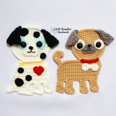 Dalmation and Pug Applique