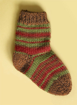 Knit Child's Striped Socks in Lion Brand Wool-Ease - 70285AD