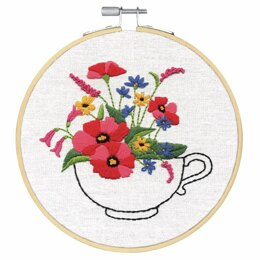 Dimensions Cup of Flowers Embroidery Hoop Kit - 15cm