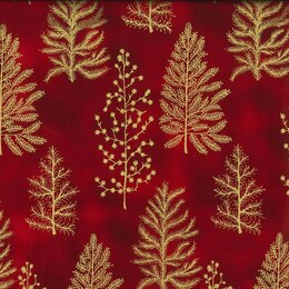 Oddies Textiles Louden Christmas Fabrics - Christmas Trees Red Base - JLX0098 Red
