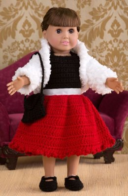 Party Time Doll Outfit in Red Heart Buttercup - LW4326