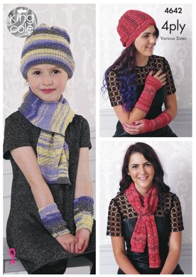 Scarf, Hat & Wrist Warmers in King Cole Party Glitz 4Ply - 4642 - Downloadable PDF