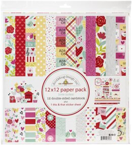 "Doodlebug Double-Sided Paper Pack 12""X12"" 12/Pkg - Love Notes"