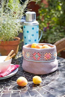 Basket with Granny Squares Edge in Schachenmayr Catania - S9470 - Downloadable PDF