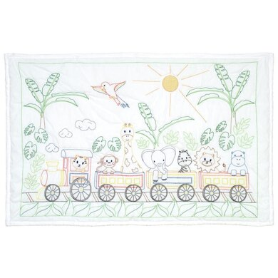 Jack Dempsey Stamped White Quilt Crib Top - Jungle Train - 40in x 60in