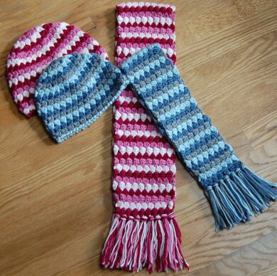 Mod Hat and Scarf Set (3 sizes: toddler, child, teen/adult)