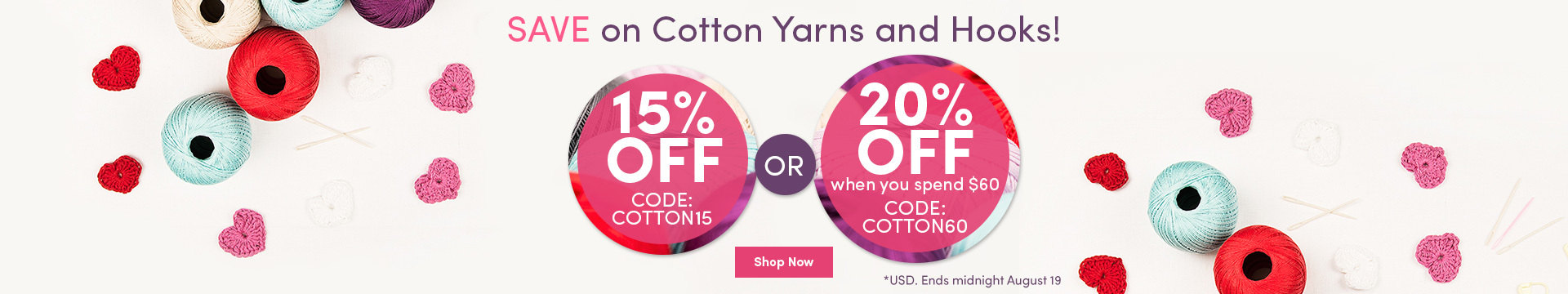 LC Marketing - 15 or 20% off cotton yarns and hooks - Aug 2017 NA