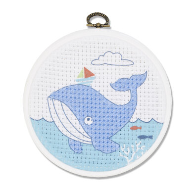 DMC The Whale Cross Stitch Kit (with 5in plastic hoop) - 5in