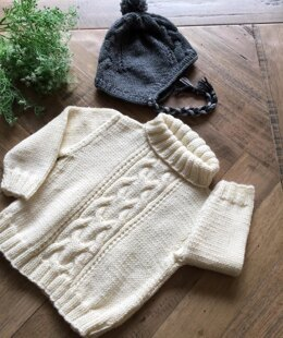 Cable Sweater with Matching Hat - P102
