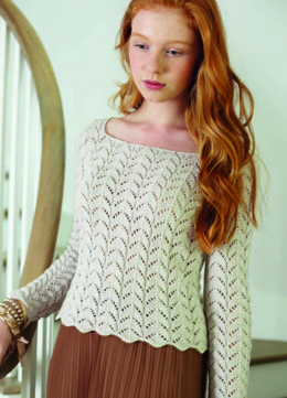 Lace Panel Sweater in Debbie Bliss Eco Baby - CF09
