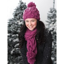 Snowdrift Cable Hat and Scarf Set in Bernat Roving