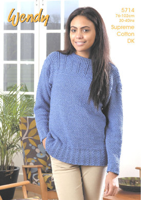 Guernsey Style Sweater in Wendy Supreme Cotton DK - 5714