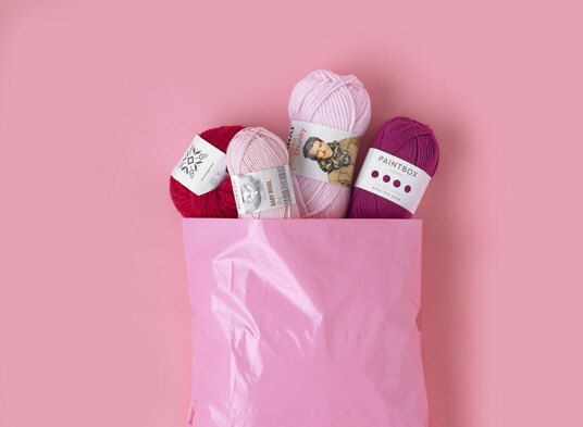 Pink parcel with yarn inside