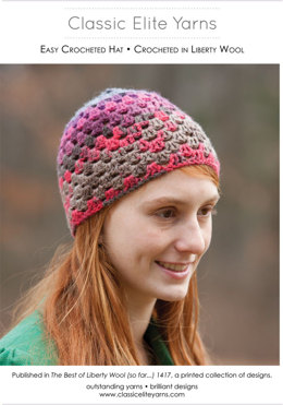 Easy Crocheted Hat in Classic Elite Yarns Liberty Wool Prints - Downloadable PDF