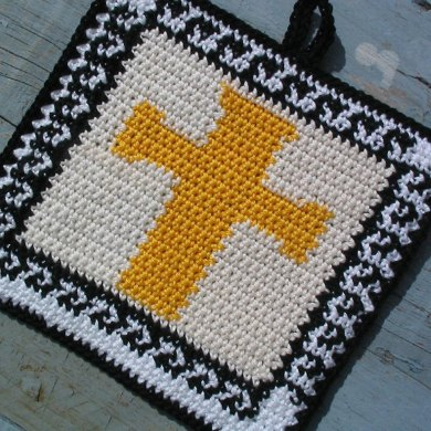 Easter cross with greek key pattern potholder