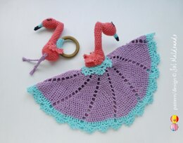 Flamingo security blanket & teether amigurumis