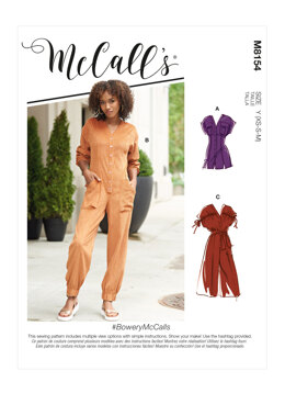 McCall's Misses' Rompers, Jumpsuits & Belt M8154 - Sewing Pattern