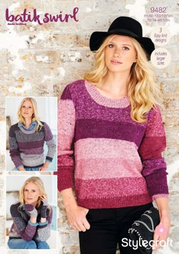Ladies Sweaters & Mittens in Stylecraft Batik Swirl DK - 9482 - Downloadable PDF