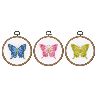 Vervaco Embroidery Kit with Ring - Butterflies (Set of 3) - 10cm (4in)