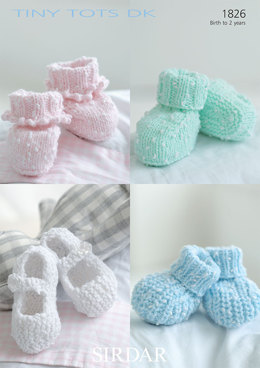 Bootees and Shoes in Sirdar Snuggly Tiny Tots DK - 1826