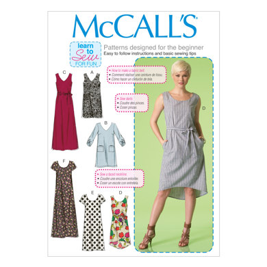 McCall's Misses' Dresses and Belt M7120 - Sewing Pattern