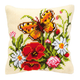 Vervaco Butterfly and Flowers Cushion Front Chunky Cross Stitch Kit - 40cm x 40cm