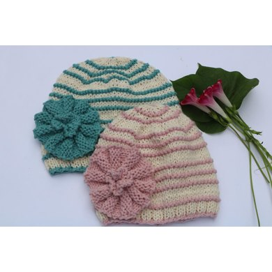 Amore Baby Hat With Flower Knitting Pattern By Neva