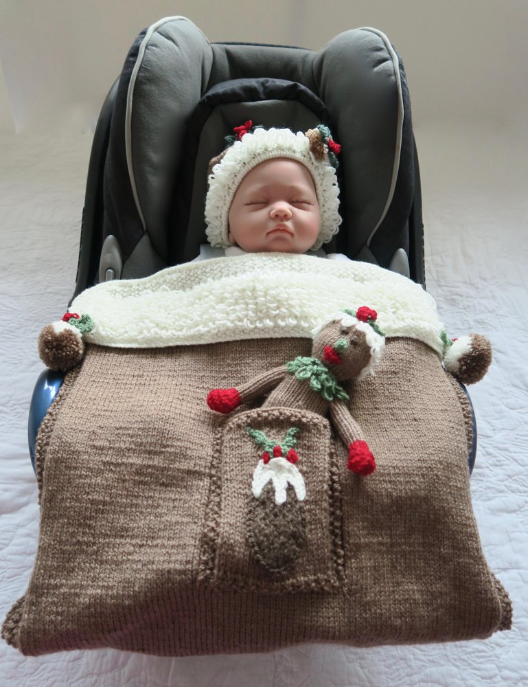 Christmas Pudding Car Seat Blanket Knitting Pattern By