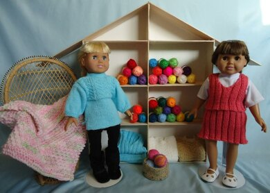 Yarn Shop Ladies with Basket and Afghan - Knitting Patterns fit American Girl and other 18-Inch Dolls