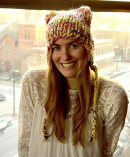 Meow Hat in Knit Collage Gypsy Garden
