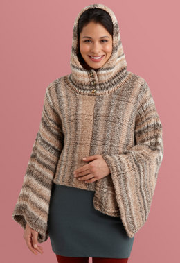Hooded Poncho in Lion Brand Tweed Stripes - L10691