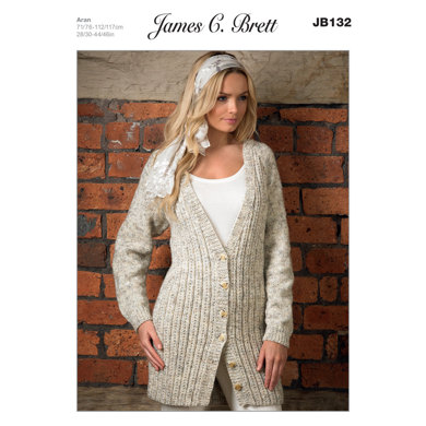 Ladies' Cardigan in James C. Brett Rustic with Wool Aran - JB132