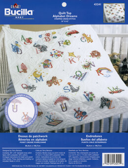 Bucilla Alphabet Dreams Stamped Cross Stitch Quilt Top  - 42 x 34 inches