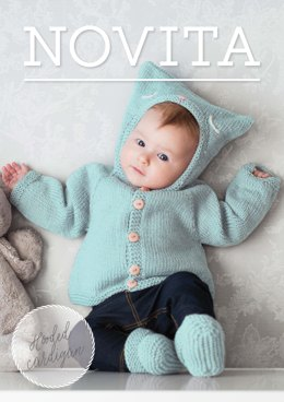 Hooded Baby Cardigan in Novita Baby Wool  - 34 - Downloadable PDF