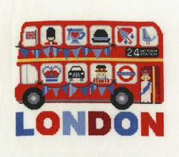 DMC London Bus 14 Count Cross Stitch Kit - 25.5cm x 20.3cm