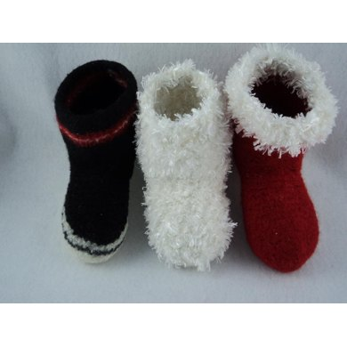 Kids Boot Slipper Felted Knit Pattern