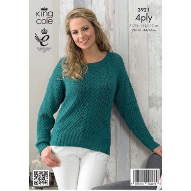 Womens' Cardigan and Sweater in King Cole Bamboo Cotton 4 Ply - 3921