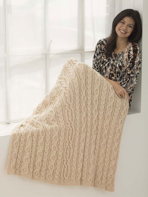 Free Knitting Pattern 80115ad Winter Lace Afghan Lion : Dancing Cable Afghan in Lion Brand Heartland - L40216 ...