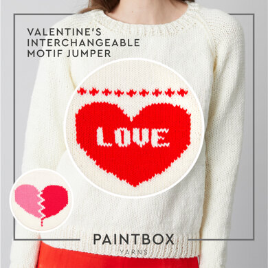 Valentines Interchangeable Motif - Free Jumper Knitting Pattern For Women in Paintbox Yarns Simply Chunky by Paintbox Yarns