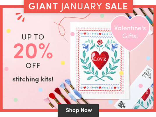 Up to 20 percent off stitching kits for Valentine's gifts!