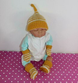 Baby Easy Stripe Pixie Hat, Booties & Mittens