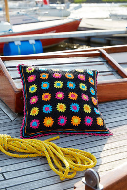 Black Granny Square Pillows in Schachenmayr Catania - S9027A - Downloadable PDF