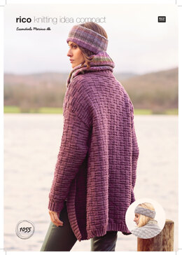 Women's Cardigan and Headwear in Rico Essentials Merino DK - 1055 - Downloadable PDF