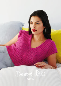 """Silvia Top"" - Top Knitting Pattern For Women in Debbie Bliss Sita"