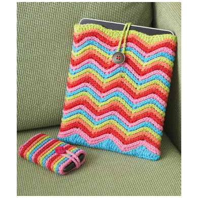 Rainbow Stripes Tablet or Phone Cover in Lily Sugar 'n Cream Solids